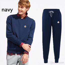 2019 pullover térmico Novo sportswear calças masculinas de algodão de lazer outono / inverno ternos de esportes dos homens de lazer calças de lazer pullover térmico barato