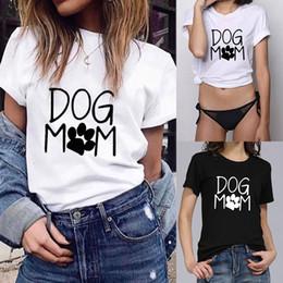 hund shirt frau Rabatt Ästhetische koreanische Kleidung Mode Frauen lose Kurzarm Hund Mutter Print T-Shirt Casual Oansatz Top T-Shirt Femme Sexy Top