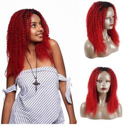 parrucca ricci parzialmente rossa Sconti Shiningstar 1B Red Kinky Jerry Ricci Ombre Colore 100% Parrucche per capelli umani 50% Grande vendita Spedizione gratuita