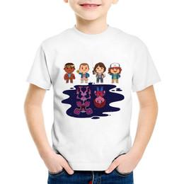 Ropa de personajes para niños online-Dibujos animados Extraño Cosas Carácter Niños Divertido camiseta Niños Casual Verano Tops Bebés / Niñas ropa, HKP5065