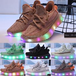 2019 marca de zapatos oscuros resplandor Sply35 V2 zapatos iluminados para niños Niños Niñas Zapatillas Diseñador de la marca Resplandor en la oscuridad Negro Estático Hiperespacio Arcilla Trfrm Bebé Zapatillas para correr rebajas marca de zapatos oscuros resplandor