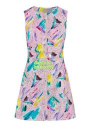 meninas vestidos de algodão flora Desconto Mulheres de Algodão Grafite Imprimir Vestido Feminino Tops de Alta Qualidade Casual Crewl Pescoço Camisas Meninas Breve Runway Vestido