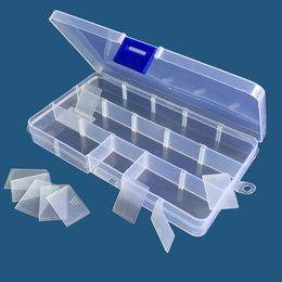 2019 plastica usata Archiviazione gioielli Regolabile scatola trasparente uso domestico di stoccaggio Organizzatore di quindici tipi di griglie di plastica perline orecchino contenitore QQA291 plastica usata economici