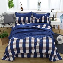 Conjuntos de ropa de cama de tela escocesa 3D azul oscuro Impreso Duvet Cover Set 3pcs / Set Queen King tamaño Twin desde fabricantes