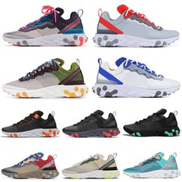 silver jade for men Coupons - React Element 87 55 Running Shoes for men women RED ORBIT Moss Royal Tint Jade Total Orange Navy Mens Trainers Sports Sneakers 36-45