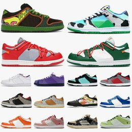 Chocolate de baixa qualidade on-line-2020 baskets nike sb dunk low white off Designer Skateboard Sneakers Safari Chunky Dunky Femmes Hommes Blanc des Chaussures Casual travis mode Formateurs