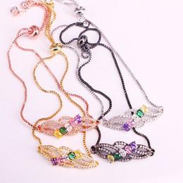 Jóias pavimentar cristais conectores on-line-6PCS, Rainbow CZ Micro Pave Bar Connector cadeia pulseira Mulher Cristal Zirconia Charm Bracelet jóias de ouro