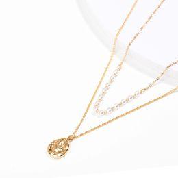 Canada Personnalité européenne et américaine accessoires 18 k or en forme de goutte tag collier fait main perle cou double mode bijoux créatif cadeaux Offre