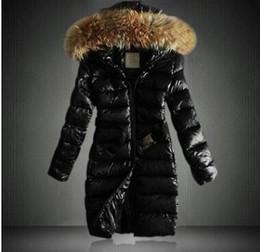 Manteau de cheveux lourd d'hiver en Ligne-Les femmes s'épaississent en hiver Veste longue en duvet à capuche femme Slim fit Col épais en poil épais Manteau en coton matelassé XXXL
