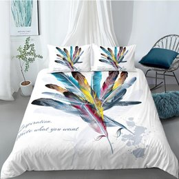 2020 cama colorida define rainha Creative Bedding Set Colorful Feathers Beautiful Artistics Duvet Cover Queen King Twin Full Single Double Unique Design Bed Set desconto cama colorida define rainha
