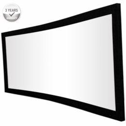 Marco fijo online-F3HWAW-16: 9 HDTV Sonido Acústico 4K Marco fijo curvado cine en casa Proyector Pantalla de proyección- Tejido blanco transparente acústico