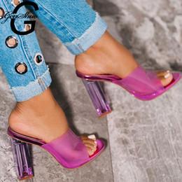 scivola l'alto tacco sexy Sconti GENSHUO Slipper con tacco spesso e tacco alto Punta aperta Sandali da donna estate Sandali De Mujer 2019 Sexy pantofole con cinturino con cinturino e cinturino da donna