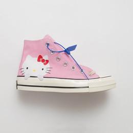 2019 ragazze ciao gattino Converse Cute Convas Cat Hello Kitty 1970 Canvas Scarpe da donna con tacco alto Crystal Girl Harvesting Skateboard Shoes sconti ragazze ciao gattino