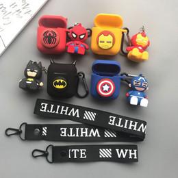 2019 estuches para muñecas Marvel Super Hero Silicona Bluetooth Wireless Auricular Funda para AirPods Cubierta protectora Accesorios de la piel para Airpods Con Muñeca estuches para muñecas baratos