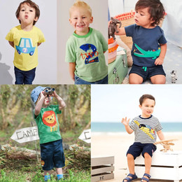 64656ed42a7 Baby Boys Embroidery Summer Infant Cotton Striped Children Girls Tee  Cartton Crocodile Giraffe Lion Plane Short Sleeve T-shirts For Kids