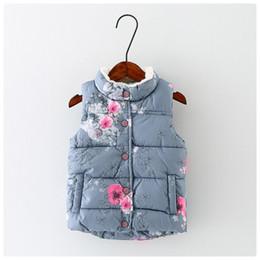 2019 blumenkapuzenweste Mädchen bekleiden Kinder Floral Fleece Tasche Jacke für Mädchen Herbst-Winter-OuterwearCoats Hooded Kids Warm Cotton Oberbekleidung günstig blumenkapuzenweste