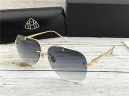 Meilleurs logos automobiles en Ligne-Luxe-Top hommes lunettes marque de voiture Maybach créateur de mode pilote lunettes sans monture top lunettes de soleil uv400 extérieures G-WT-Z14 détails exquis logo