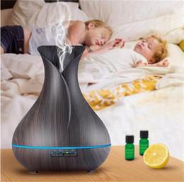 Neue Ankunft Top Qualität 400 ml Aroma Ätherisches Öl Diffusor Ultraschall Luftbefeuchter mit Holzmaserung 7 Farbwechsel LED Lichter von Fabrikanten
