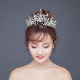 Fasce coreane di tiara online-Corone da sposa Corone Fasce per capelli da sposa Tiara Fasce di cristallo Ragazze Festa di compleanno Principessa Diadema Grande corona Velo da sposa Accessori per capelli