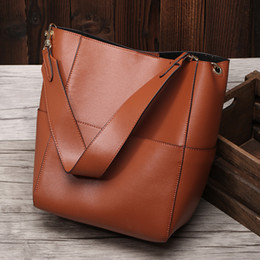 real handbags for Promo Codes - New Large Tote Bag For Women Real Genuine Leather Bucket Handbags Female Luxury Famous Brands Ladies Shoulder Brown Bag Designer