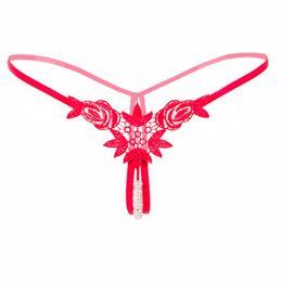 Tiras abertas para mulheres on-line-Flor com Pérolas Tangas Mulheres Sexy G Cordas Lingerie Sexy lingeries Tangas Lingerie Erótica Aberta Crotchless Transparente Calcinha navio da gota