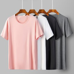 2019 camisetas en blanco de la moda 2019 Cool T Shirt Men Soft 95% Bamboo Fiber Hip Hop Basic camiseta blanca en blanco para hombres Camisetas de moda Summer Top Tee Tops homme camisetas en blanco de la moda baratos