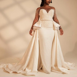 removable train vintage wedding dress Promo Codes - African Mermaid Wedding Dresses with Over Removable Train Sheer Neck Long Sleeve Sweep Train Garden Country Chapel Bridal Gowns Plus Size