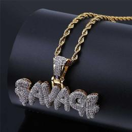 Correntes de corda de 24 polegadas on-line-Colar SAVAGE Latão Cor de Ouro Congelado Micro Pave Zircon Cúbico 24 inch Corda Cadeia Charme Para Homens