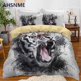 twin gifts Coupons - AHSNME Tiger Bedding Set Boy Duvet Cover Sets Animal King Comforter Covers Bedroom Gift Dropshipping