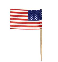 Canada Livraison Gratuite 100 pcs Mini Drapeau Américain Polyester USA Drapeau Fête de L'indépendance Bannière Cupcake Picks Sticks Stars Stripes Drapeau États-Unis Offre