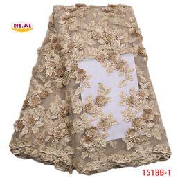 2018 di alta qualità pesca francese maglia di pizzo oro africano 3d tessuto del merletto accessori per il cucito nigeriano pizzo per dedding dressNA1518b-1 da merletti africani della pesca dell'oro fornitori