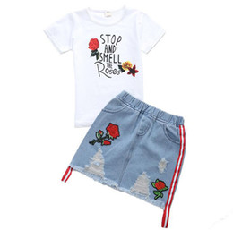 enfants jeans filles ans Promotion 2019 Summer Toddler Enfants Filles Coton Tops T Shirt Rose Jeans Brodé Jupe Vêtements Set Fille tenues pour 6 8 10 12 14 Années Y190518