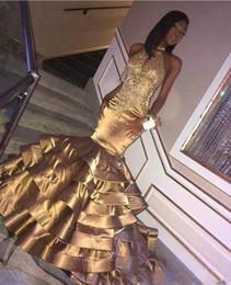 vestidos de fiesta góticos púrpura Rebajas Bling Bling Oro Vestidos de baile Sirena 2019 Cuentas de Crystal Tiers Satén África Concurso árabe Dubai Vestidos de fiesta largos formales Vestido de noche