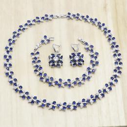 conjuntos de jóias de fantasia para casamentos Desconto Escuro Azul Forma De Flor De Cristal 925 Conjuntos de Jóias de Prata Esterlina para As Mulheres Colar Brincos Pulseira Presente de Aniversário de Casamento
