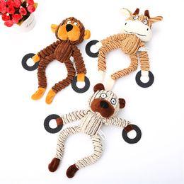 urso de veludo cotelê Desconto Dog Corduroy Squeaker Brinquedos Macaco Gado Urso engraçado Molar Tooth Squeaky Chew artigos filhote de cachorro Toy Pet 8 9PE UU