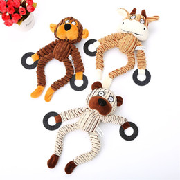 2019 orso di corduroy Cane Corduroy Squeaker gioca la scimmia bestiame Orso divertente Molar Tooth Squeaky Chew Toy cucciolo articoli 8 9PE UU orso di corduroy economici