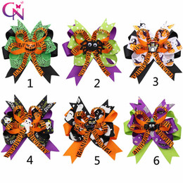 kids hair accessories Promo Codes - 4.5''Halloween Hair Bows for Girls Designed Printed Hair Clip Pumpkin Ghost Patches Hairpin Festival Party Kids Hair Accessories
