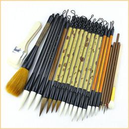 2019 penteado de barbeiro de aço inoxidável 24 pçs / set Luxo de Alta Qualidade Escova De Caligrafia Caneta Definir Escovas de Pintura Paisagem Chinesa S / m / l Escrita Rotula Escovas SH190719