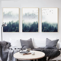 2019 calcomanía para dorar gratis Decoración nórdica Bosque Lanscape Wall Art Canvas Poster and Print Canvas Pintura Imagen decorativa para la sala de estar Decoración para el hogar