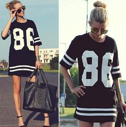 оптовые майки Скидка Fashion-Wholesale-86 новый 2015 лето женщины знаменитости негабаритных свободные футболки с короткими рукавами американские basebmodels футболка платье