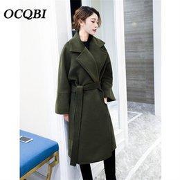 2019 casual mäntel für damen Plus Size koreanischen Stil lange Wolle Wintermantel Damenmode Streetwear lose Taschen Casual Ladies Coat günstig casual mäntel für damen