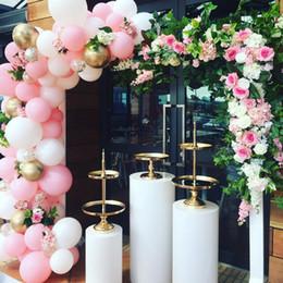 Pastel de boda del pilar online-Pilar cilindro pedestal estante de metal macaron postre soporte de hierro Soporte de pastel para baby shower boda cumpleaños hotel telón de fondo decoración