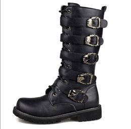 2019 botas meias de meia calça zip Homens inverno Botas Da Motocicleta 2018 Moda Mid-Calf Do Punk Rock Do Punk Sapatos Dos Homens de Couro PU Preto de Alta top Casual Homem Bota botas meias de meia calça zip barato