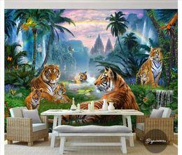 papel de parede da água 3d Desconto Personalizado fundo 3d foto mural decoração papel de parede casa do arco-íris Creek Cascata Floresta Big Grupo Tiger Woods animal Landscape Recados