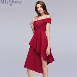 Сексуальные бордовые высокие низкие коктейльные платья Элегантное короткое светоотражающее платье Вечернее платье с плеча Платья для женщин Короткие платья выпускного вечера от