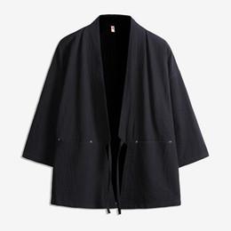Casual mens CottonLinen delgada Chaqueta Kimono Retro estilo chino Robe hombres Color sólido suelto Cardigan Windbreaker plus size 5XL desde fabricantes