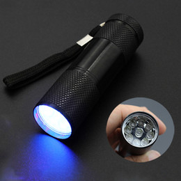 2019 linternas de luz negra 9 LED Linterna de aluminio Mini portátil 395-400NM Ultravioleta Blacklight Linterna Antorcha Luz sin batería 5 colores DS0562 CY rebajas linternas de luz negra