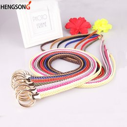 a2d3cc9f30e4 New Fashion Weaving Waist Band Round Buckle Belts Casual Luxury Knitted  Braided Belt For Women Ladies Thin Waistband Dress Belt