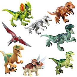Bloco jurássico on-line-Jurassic Park Dinossauro figuras blocos Velociraptor Tyrannosaurus Rex Blocos de construção de brinquedo Tijolos crianças coleção presente favor do partido FFA2077