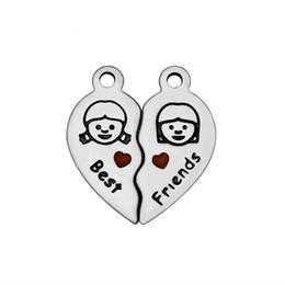 mini split de gros Promotion Coeur en acier inoxydable Split Laser Graver Best Friends Mini Charme DIY Accessoires faits à la main en gros 5pcs